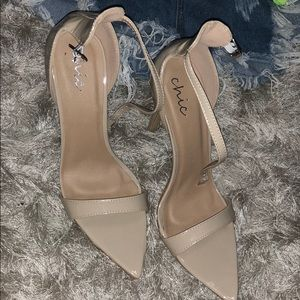 Pointed nude heels